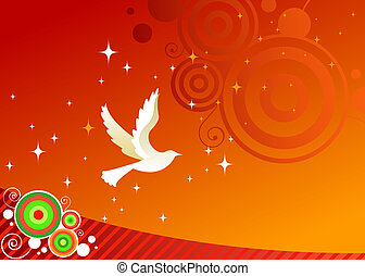 Wishes for Peace - White dove flies across a red sky - as...