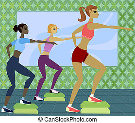Work It Out - Women in step aerobics class