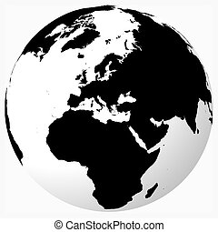 Black and white world - Black on white globe