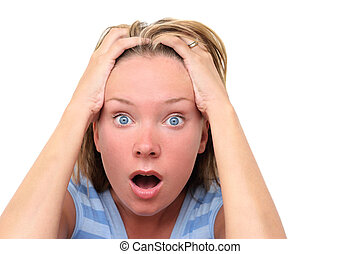 Surprised Woman - Woman over white background with surprised...