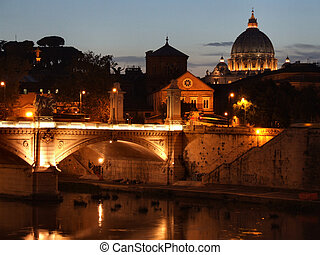 Rome night - River Tevere in Rome Rome cityscape at night...