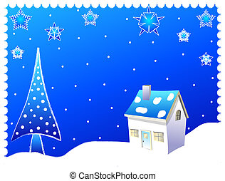 Winter scene with christmas tree and a house