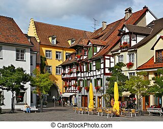 Quiet Street - Quiet street in an old town Meersburg,...