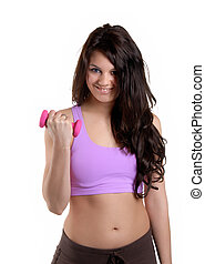 Aerobics - Attractive Young Woman Working Out With Weights