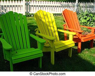 Colourful Chairs - colourful adirondac chairs with picket...