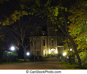 Haunted House - haunted house on halloween night in old...