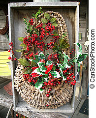 christmas basket decoration in old wooden box