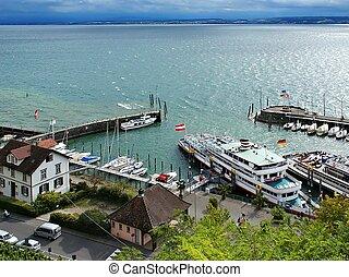 Meersburg Harbor - A passenger ferry arrived at Meersburg...