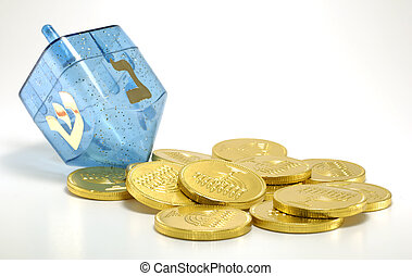 Dreidel - Photo of a Dreidel and Gelt (Candy Coins) -...