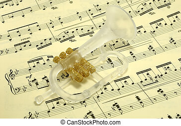 Musical - Photo of a Trumpet Ornament on SHeetmusic -...