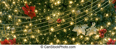 christass tree - xmass tree, detail, musical notes, lights