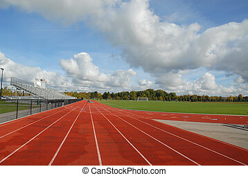 Track & field - College running track & soccer field,...