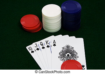 winning hand - straight flush ace high over green felt with...