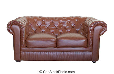 leather sofa, isolated on white