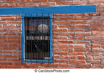 Window Wrought Iron Grill - Window with wrought iron grill...
