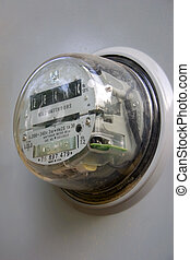 Electrical Meter - an electrical meter in a gray box