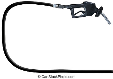 Filling Up - a gas pump and hose over a white background