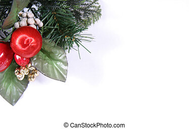 Christmas Template - Red and green holiday sprig with white...