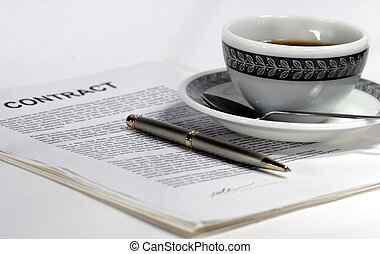 contract coffee - contract and pen and coffee for a sales...