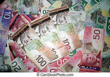 Canadain Money 2 - A background of canadian money with 100$...