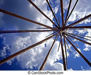 TepeeLodgePole - Looking up at the lodge poles of a tepee