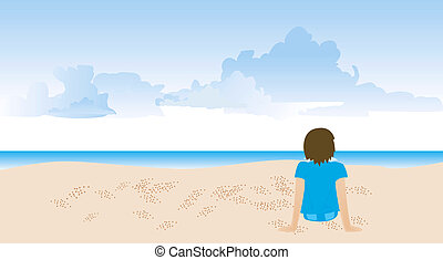 Beach - Illustration of a Boy relaxing at the Beach