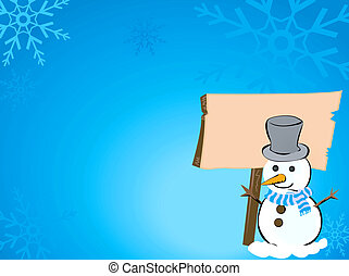 Snowman Background - Snowman and Snowflakes Illustration for...