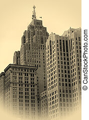 Old skyscrapers  - Old sky scrapers in sepia