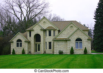 Mansion - A mansion with manicured lawn