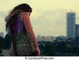 sunset - This is a photo of the girl enjoying an Tel Aviv...