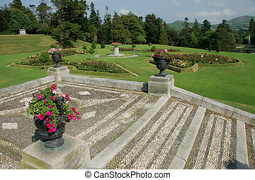 Irish gardens - Gardens at Powerscourt house, Enniskerry,...