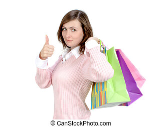 Woman With Shopping Bags - Young Woman With Shopping Bags...