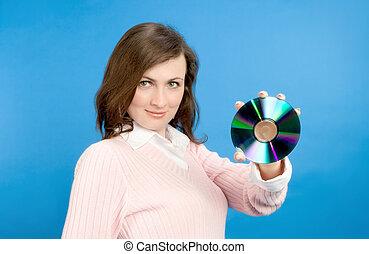 joven, mujer, tenencia, compacto, disco