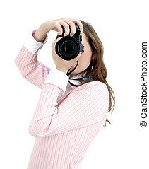 Young woman with camera isolated over white