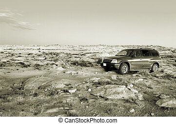 Having fun - Offroad SUV in Utah desert