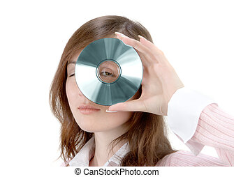 Young Woman Holding Compact Disc