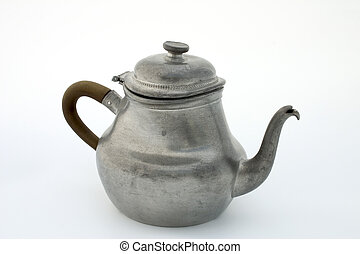 Pewter teapot - Ancient pewter teapot, isolated