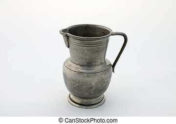 Pewter jug - Ancient pewter jug, isolated