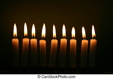 chain of candles - nine candles in a row
