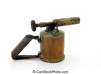 Old blowtorch - Old brass blowtorch, isolated