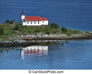 Lonely church on a peninsula