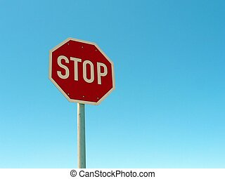 Stop Sign 01 - Road stop sign against a blue sky