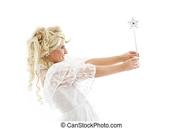 fairy with magic wand - lovely blond in fairy dress with...