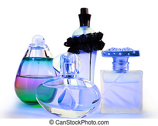 A couple of perfume bottles