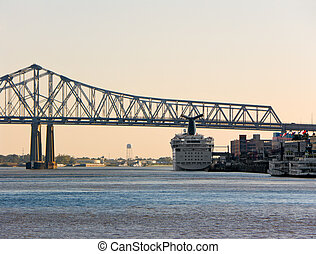 Port of New Orleans - cruise ship and riverboat docked...