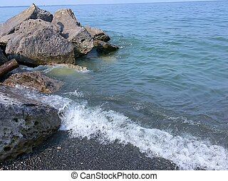 Lakeshore 40024 - An peaceful place on the lake with rocks...
