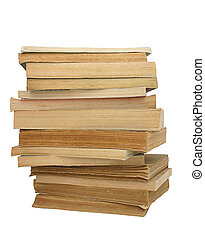 stack of yellowed books 2 - stack of yellowed books on white...