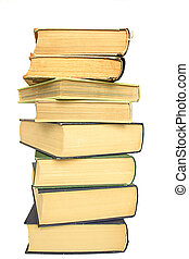 stack of yellowed books on white background