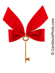 Christmas Key - Gold key with Christmas bow isolated on...