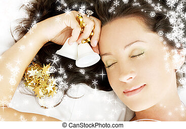 christmas dream 3 with snowflakes - picture of dreaming girl...